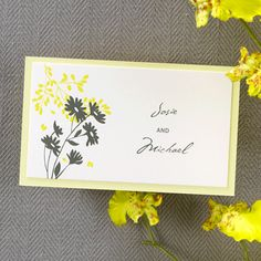 Mod Canary and Pewter Name Tab -   Seal your pocket invitation with this ecru name tab featuring a yellow base card with a modern floral design. #yellow