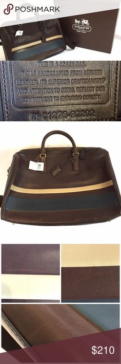 """NWT COACH AUTHENTIC CARRY BAG LEATHER WITH STRAP GOOD CONDITION!  THIS IS A AUTHENTIC COACH BAG THAT IS : No. C1276-93202  IT HAS THE TAG AS WELL: MAHOGANY/NAVY   WHILE THIS BAG WAS NEVER USED, DOES COME WITH ORIGINAL BOX, AND TAGS, IT HAS THE FOLLOWING:  THIS BAG HAS SCRATCHES, WRINKLES AND MISSHAPED PLEASE LOOK AT PHOTOS FOR UNDERSTANDING.❗️   SHOULDER FABRIC STRAP CAN BE REMOVED, THE POCKETS INSIDE ARE ONE LARGE ZIPPER ONE AND 4 POCKETS FOR IPHONE, KEYS, WALLET.  17"""" LENGTH, 14"""" DEPTH, 7'…"""