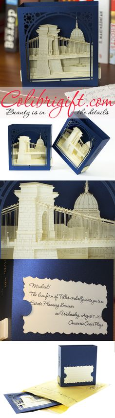 #budapest #birthday #card #popup #kirigami #origami #budapest #chain bridge #greeting card #blue  #luxury #unique #gift #invitation