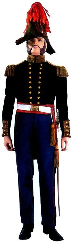 example of Marine Corps Major's uniform--notice the plume on the foldable hat--Mexican War 1846-1848