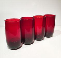 Anchor Hocking Royal Ruby Drinking Glasses, Royal Ruby Iced Tea Tumblers, 1950s Anchor Hocking Red Glassware 13 Oz. Tall Glasses