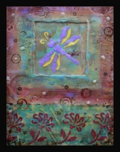 """Dragonfly"" Encaustics and mixed media on wood panel, Crystal Hover"