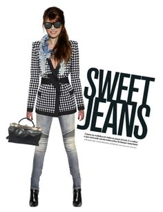 """Sweet Jeans"" by captainsilly ❤ liked on Polyvore featuring Balmain and Linda Farrow"