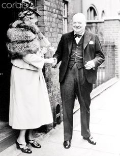 Winston Churchill shakes hands with Eleanor Roosevelt here, as she leaves his home at 28 Hyde Park Gate, in London, after having lunch with Winston and his wife. Mrs. Roosevelt was in London for the dedication of the Moeirla Statue to her husband, the late Franklin Delano Roosevelt.                           Eleanor Roosevelt Departing from Home of Winston Churchill April 15, 1948 ❤❁❤❁❤❁❤❁❤❁❤ http://en.wikipedia.org/wiki/Winston_Churchill