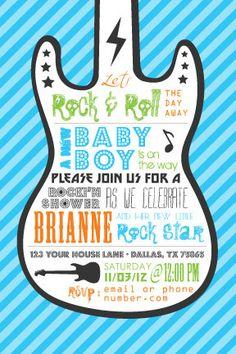 Rock Star Baby Shower Invitation by TheWorldisaCanvas on Etsy, $15.00