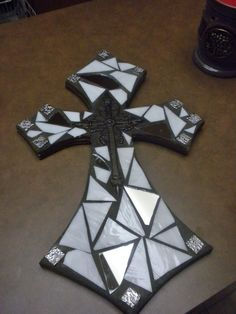 Mosaic glass tile cross  white with mirror by CountryGooseBoutique, $35.00