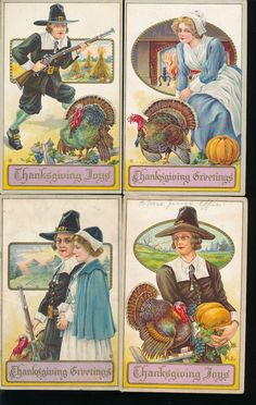 ~Nice Lot of 4 Thanksgiving  with Pilgrims Vintage Antique Postcards-a283 #Thanksgiving