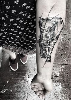 2017 trend Animal Tattoo Designs - Sketch style elephant by Inez Janiak Hand Tattoos, Up Tattoos, Body Art Tattoos, Sleeve Tattoos, Tattoos For Guys, Cool Tattoos, Phoenix Tattoos, Sketch Style Tattoos, Sketch Tattoo Design