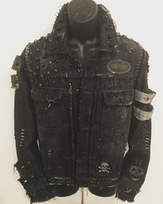 Distressed studded denim rock n roll apocalypse jackets from ChadCherryClothing.