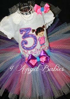 SULLEY, Mike, or Boo Inspired Monsters Inc. Girls 3 Piece Tutu Birthday Outfit Choose Your Size 9m, 12m, 18m, 2T, 3T, 4t, 5t, 6T