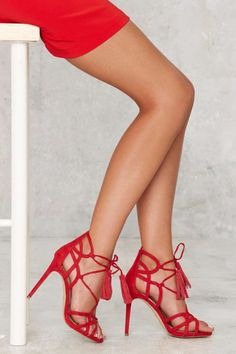 Lipstik Shoes Kazzy Microsuede Heel - Red | Shop Shoes at Nasty Gal!