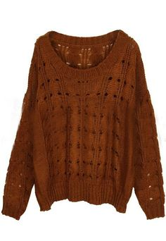 Brown Round Neck Batwing Long Sleeve Hollow Sweater