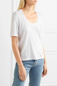 FRAME - Slub Linen T-shirt - White - medium
