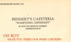 Adverting card for Bennert's Cafeteria, located in downtown Minneapolis. From the Hennepin History Museum collection.