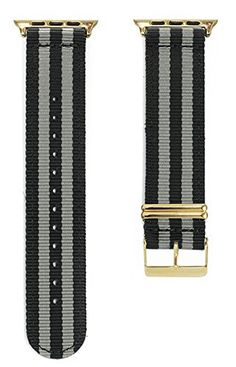 Apple Watch NATO Band - Black & Grey Woven Nylon Band (Black & Grey - 42mm Gold). The original NATO strap designed for your smartwatch: Apple Watch, Android Wear & Pebble. Woven, double layered and heat sealed ballistic nylon - it comes with a Lifetime Warranty. Patent Pending design using quick-release pins.