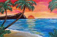 Beach Drawing, Painting & Drawing, Hawaii Painting, Beach Sunset Painting, Beach Paintings, Hawaiian Art, Hawaiian Sunset, Wine And Canvas, Tropical Art
