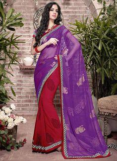 Alluring Red N Purple Half N Half #Saree