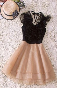 Champagne Cascading Ruffle Dress