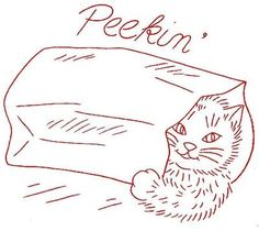 Aunt Martha 3183 Sparky the Kitten for Dish Towels. A 1940s hand embroidery pattern.