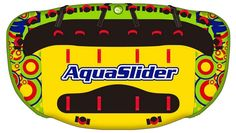 Aquaslider 6 is a lie on top towable, created to give you fast and safe rides.  It has 3 extra strong towing points and it is suitable for up to 4 persons  It has a heavy-duty double layer nylon cover and o full PVC bottom that makes it slide fast and be steady on waves  We are sure that this towable will give you extreme and safe rides
