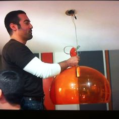 Hgtv show kitchen cousins: an awesome wall treatment and acrylic light.