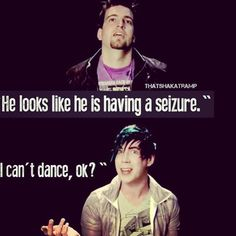 Josh and Mike on Josh's sweet moves. We knew, Josh. Marianna Trench, Josh Ramsay, Canadian Boys, Face The Music, Deceit, My Chemical Romance, Music Bands, Music Is Life, Cool Bands