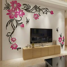 Neoteric Beautiful Wall Decor Decoration Sticker Talentneed Com Ordinaire Large T V Background Flower Vine Acrylic D I Y Home Gift Idea Image With Paper Photo Tile For Living Room Item Wall Painting Decor, Tv Wall Decor, Mural Wall Art, Wall Stickers Home Decor, Diy Wall, Wall Decorations, Bedroom Furniture Design, Home Decor Furniture, Diy Home Decor