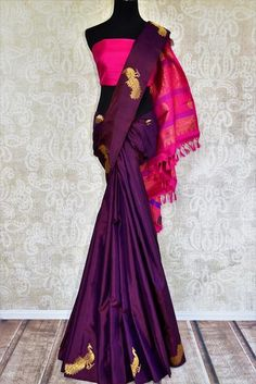 Buy dark purple Kanjivaram silk sari online in USA with pure zari peacock buta.  Pure Elegance Indian fashion store brings exclusive range of Kanjivaram silk sarees in USA.-full view