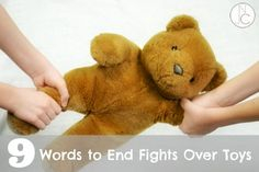 Tired of fights over toys?  These 9 words may end them for you! {Not Just Cute}