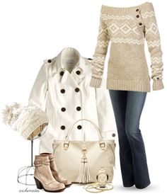 Winter Whites by archimedes16 featuring mid heel shoes ❤ liked on PolyvoreMilitary coat / Boot cut jeans / V AVE SHOE REPAIR mid heel shoes, $430 / Forever New , $72 / Marc by Marc Jacobs marc jacob, $445 / J.Crew gold bangle bracelet / Knit hat