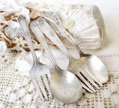 vintage baby forks and spoons
