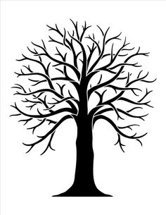 Deciduous Bare Tree with Empty Branches Black Silhouette