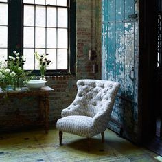 Loft style decor, upholstered chair