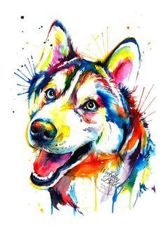 Colorful Siberian Husky Art Print - Print of my Original Watercolor Painting