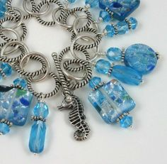 Seahorse Lagoon Glass Beaded Fringe Charm Bracelet by PaisleyLizardDesigns, $67.00