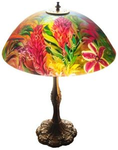 """sland Life, 18"""" Glass Diameter Painted Lamp by Floravita Painted Chandeliers, Lamps & Art"""