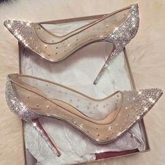 92c9c5fac6f Cinderella shoes  nude sheer pumps with crystal sparkle embellishments