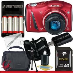 Canon PowerShot SX150 IS Digital Camera (Red) 8GB Package 1 by Canon. $181.00. Package Contents:  1- Canon PowerShot SX150 IS Digital Camera (Red) w/ All Supplied Accessories 1- 8GB SDHC Class 10 Memory Card 1- 4x AA Rechargeable Batteries  Ac/Dc Charger Kit   1- USB Memory Card Reader   1- Weather Resistant Carrying Case w/Strap  1- Pack of LCD Screen Protectors  1- Camera & Lens Cleaning Kit System  1- Mini Flexible Table Top Tripod 1- Memory Card Wallet
