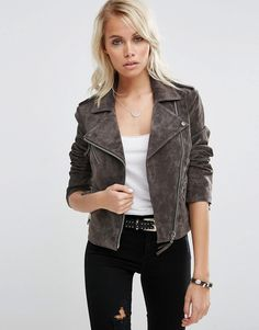 I wear my brown leather jacket so often, I could probably use a grey one as…