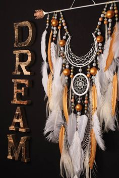 Dreamcatcher white dream catcher Arrow Copper Moon wedding