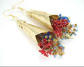 Unique Handmade Bouquets Earrings-Hammered Gold Bronze Earrings-Colorful Beaded Bouquets-Boho Contemporary Earrings-Long Impressive Earrings