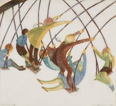 Ethel Spowers - Swings Linocut (c. printed from 4 blocks: yellow ochre; Art And Illustration, Linocut Prints, Art Prints, Lynda Barry, Wood Engraving, Australian Artists, Female Art, Modern Art, Art Gallery