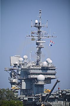 USS Kitty Hawk aircraft carrier docked in San Diego Bay