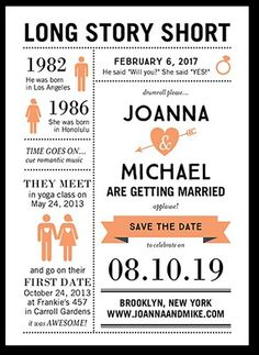 Long Story Short invitation instead of a save the date. Wedding Invitations, Bridal Shower Invitations & Announcements by Wedding Paper Divas Unique Save The Dates, Wedding Save The Dates, Our Wedding, Dream Wedding, Trendy Wedding, Unique Wedding Reception Ideas, Wedding Story, Wedding Ideas Unique Different, Wedding Themes