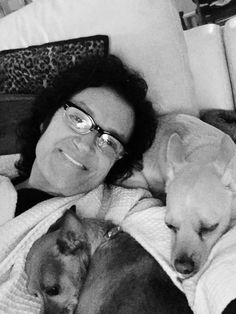 Yours truly with Toto and Daphne... the joy and unconditional love of rescue animals