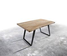 Baumtisch Live-Edge 140x90 Akazie gebleicht Platte 5cm Gestell schräg