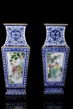 """AFTER 19TH CENTURY PAIR OF DAQING QIANLONG NIANZHI MARKED BLUE AND WHITE PORCELAIN SQUARE VASED PAINTED WITH FIGURES W:6.5"""" H:17.25"""""""
