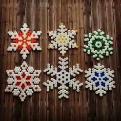 Colorful Snowflakes Christmas Perler Hama Beads - Beadsmeetgeeks