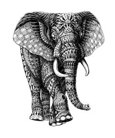 Cool awesome ornately decorate art black and white illustration elephant animal mean