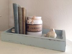 Shabby Farmhouse Wooden Tray Painted in Duck Egg Blue Chalk